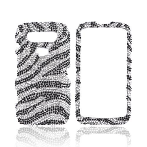 Blackberry Torch 9850 Bling Hard Case - Black Zebra on Silver Gems