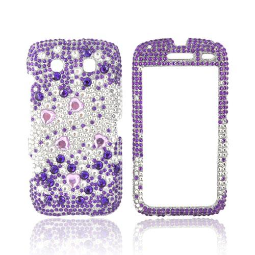 Blackberry Torch 9850 Bling Hard Case - Purple Hearts on Purple/ Silver Gems