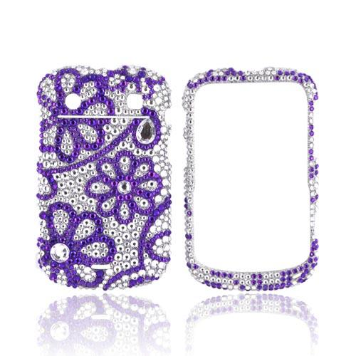Blackberry Bold 9900, 9930 Bling Hard Case - Purple Lace Flowers on Silver Gems