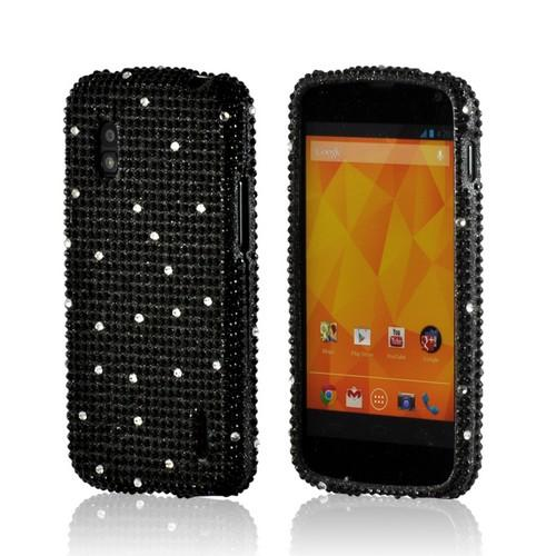 Black w/ Silver Gems Bling Hard Case for Google Nexus 4