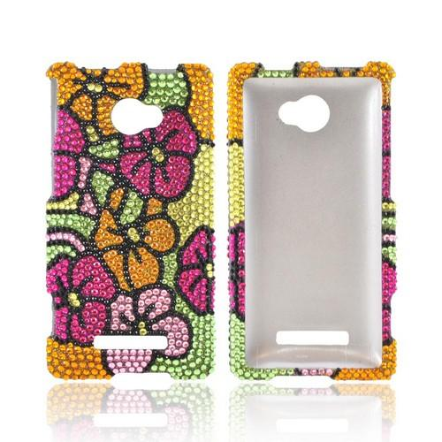 HTC 8X Bling Hard Case - Green/ Hot Pink/ Yellow Hawaiian Flowers