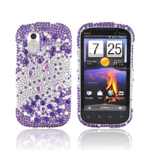 HTC Amaze 4G Bling Hard Case - Purple/ Silver Hearts