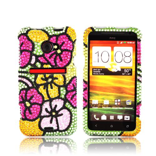 HTC EVO 4G LTE Bling Hard Case - Green/ Hot Pink/ Yellow Hawaiian Flowers