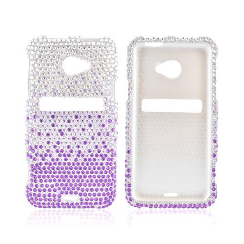 HTC EVO 4G LTE Bling Hard Case - Purple/ Lavender Waterfall on Silver Gems
