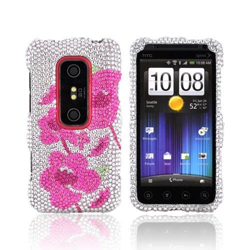 HTC EVO 3D Bling Hard Case - Pink Begonia Flowers on Silver Gems