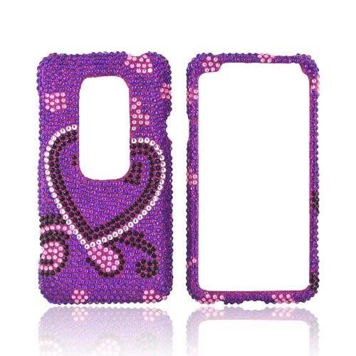 HTC EVO 3D Bling Hard Case - Silver/ Black Heart on Purple Gems