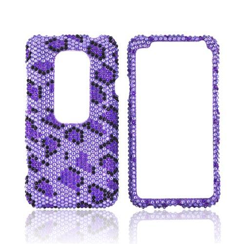 HTC EVO 3D Bling Hard Case - Purple/ Black Leopard on Light Purple Gems