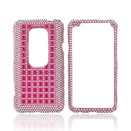 HTC EVO 3D Bling Hard Case - Pink & Silver on Pink Gems