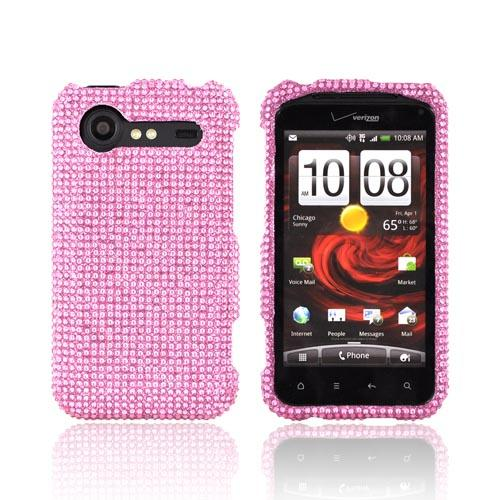 HTC Droid Incredible 2 Bling Hard Case w/ Crowbar - Baby Pink Gems