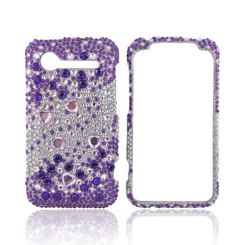 HTC Droid Incredible 2 Bling Hard Case - Purple/Silver Rhinestones