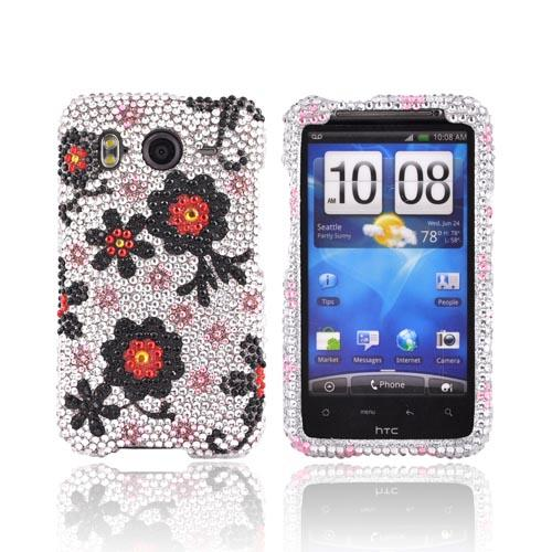HTC Inspire 4G Bling Hard Case - Red/ Black Daisies on Silver