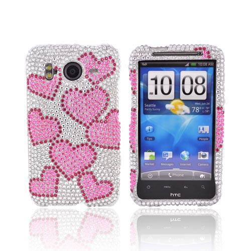 HTC Inspire 4G Bling Hard Case - Pink Hearts on Silver