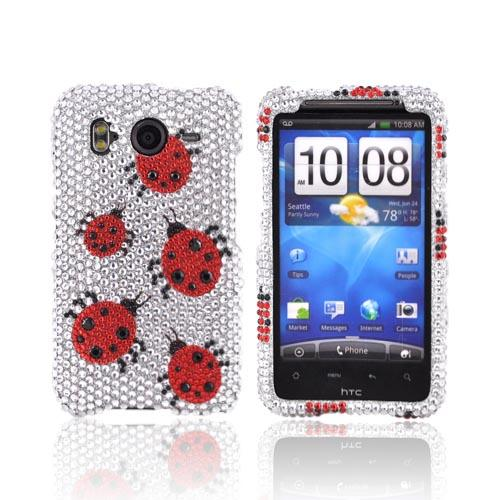 HTC Inspire 4G Bling Hard Case - Red Ladybugs on silver