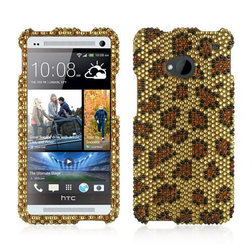 Brown Leopard on Gold Gems Bling Hard Case for HTC One