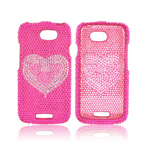 HTC One S Bling Hard Case - Pink/ Silver Mini Hearts on Hot Pink Bling