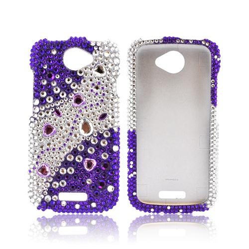 HTC One S Bling Hard Case - Purple Hearts on Purple/ Silver Gems