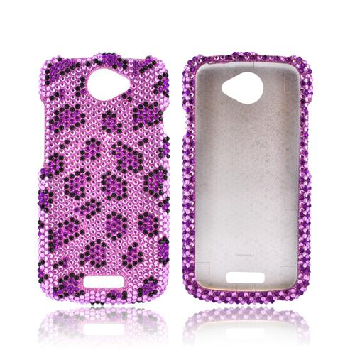 HTC One S Bling Hard Case - Purple/ Black Leopard on Pink Gems