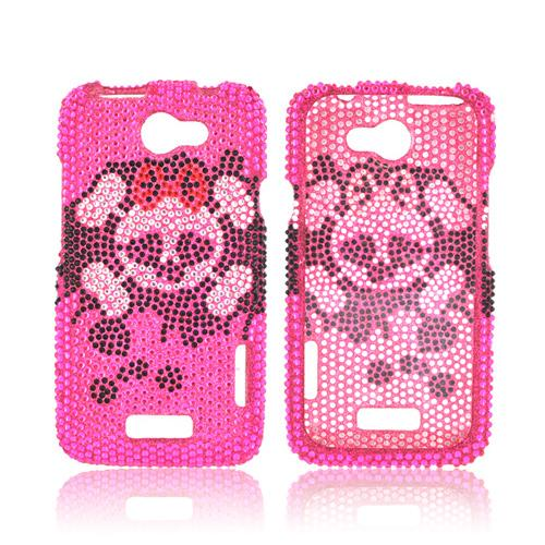 HTC One X Bling Hard Case - Silver Skull w/ Bow on Black/ Pink Gems