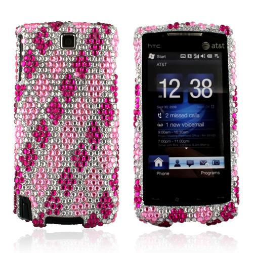 HTC Pure Bling Hard Case - Argyle Pattern of Hot Pink and Baby Pink on Silver