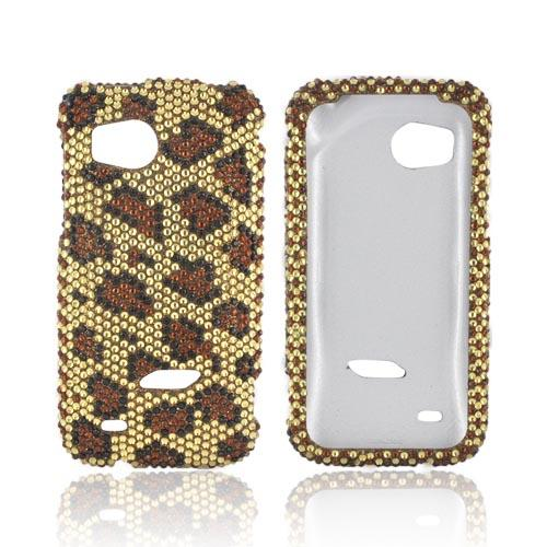 HTC Rezound Bling Hard Case - Brown Leopard on Gold Gems