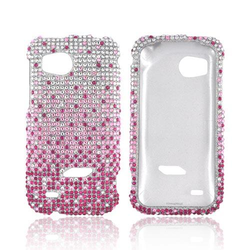 HTC Rezound Bling Hard Case - Magenta/ Baby Pink Waterfall on Silver Gems