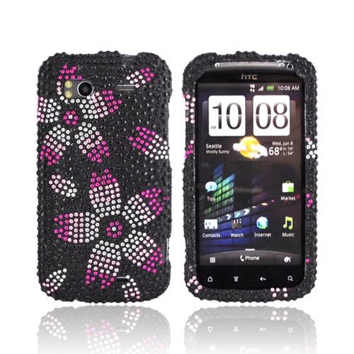 HTC Sensation 4G Bling Hard Case - Hot Pink/ Pink/ Silver Flowers on Black Gems