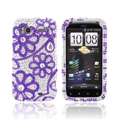 HTC Sensation 4G Bling Hard Case - Purple Lace Flowers on Silver Gems