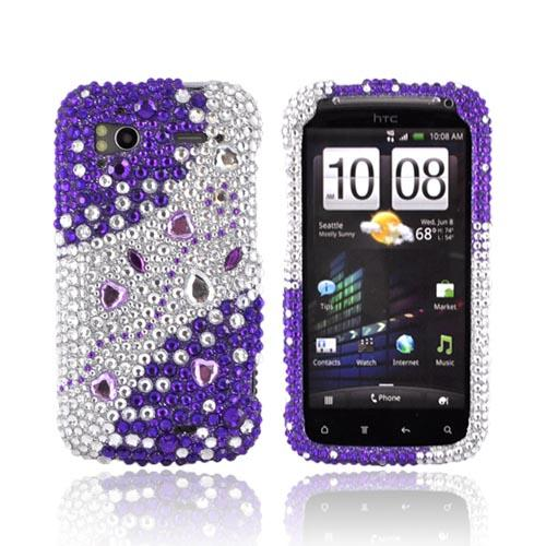 HTC Sensation 4G Bling Hard Case - Purple/ Silver Hearts & Gems