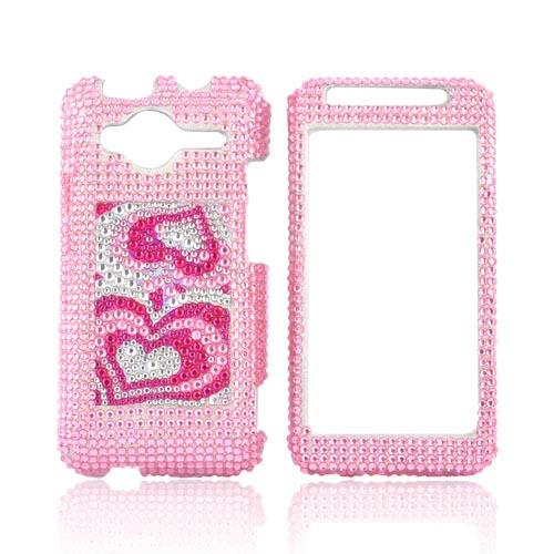 HTC EVO Shift 4G Bling Hard Case - Triple Pink Hearts