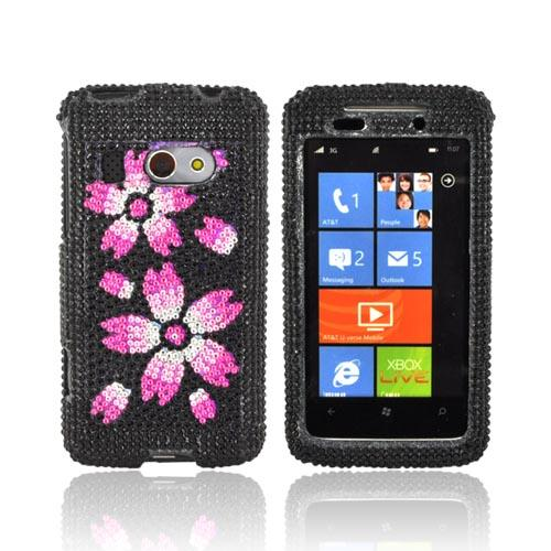 HTC Surround T8788 Bling Hard Case - Hot Pink/ Baby Pink/ White Flowers on Black Gems