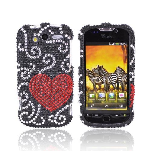 T-Mobile MyTouch 4G Bling Hard Case - Red Heart on Black