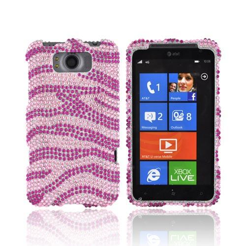 HTC Titan Bling Hard Case - Hot Pink Zebra on Baby Pink Gems