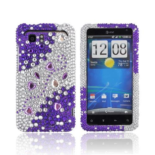 HTC Vivid Bling Hard Case - Purple Hearts on Silver & Purple Gems