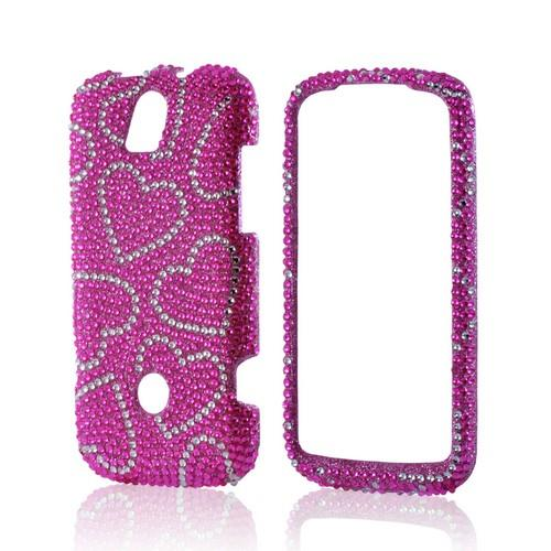 Silver/ Pink Hearts Bling Hard Case for Huawei myTouch Q 2