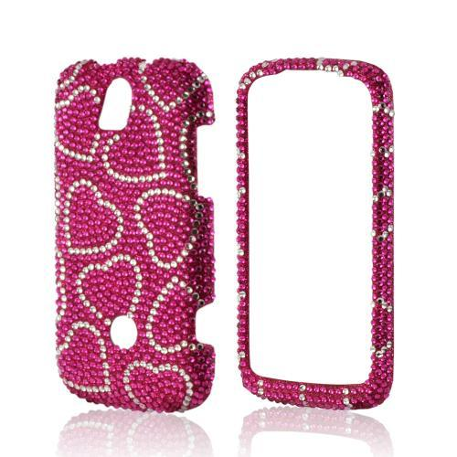 Silver Hearts on Pink Gems Bling Hard Case for T-Mobile Huawei myTouch Q 2