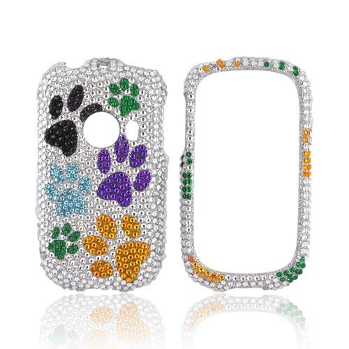 Huawei M835 Bling Hard Case - Multi Color Paw Prints on Silver Gems