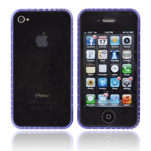 AT&T/ Verizon Apple iPhone 4, iPhone 4S Aluminum Bumper w/ Bling - Blue w/ Clear Gems