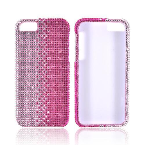 Apple iPhone 5/5S Bling Hard Case - Hot Pink/ Silver Gems