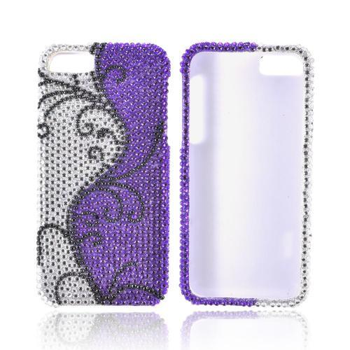 Apple iPhone 5/5S Bling Hard Case - Black Vines on Silver/ Purple Gems