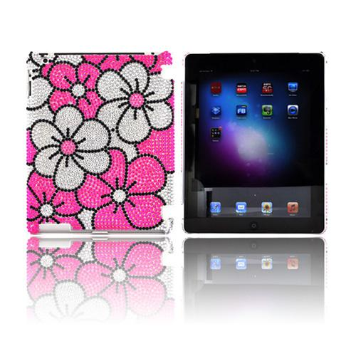 Apple iPad 2, New iPad Bling Hard Case - Hot Pink/ Silver Hawaiian Flowers on Silver Gems