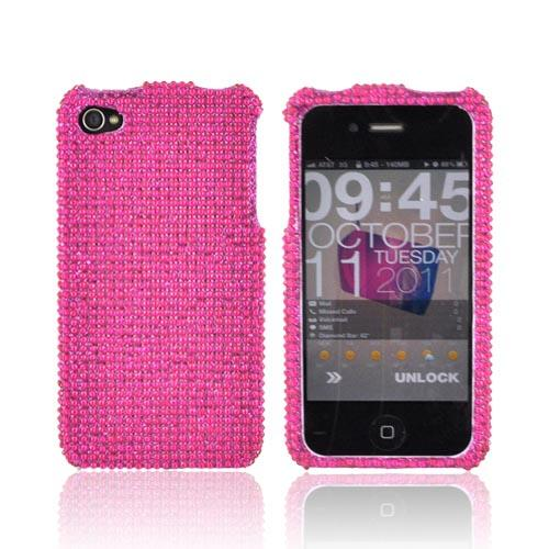 Apple AT&T/ Verizon iPhone 4, iPhone 4S Bling Hard Case w/ Crowbar - Magenta