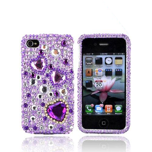 Luxmo Apple Verizon/ AT&T iPhone 4, iPhone 4S Bling Hard Case - Purple Hearts on Purple and Clear Gems