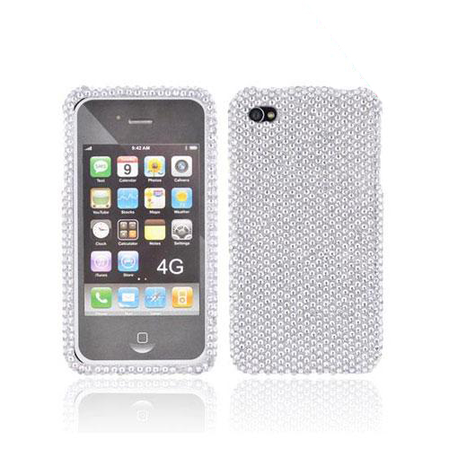 Apple Verizon/ AT&T iPhone 4, iPhone 4S Bling Hard Back Cover Case - Silver