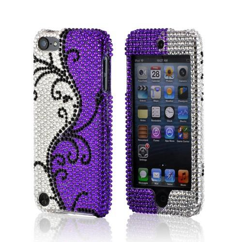 Black Vines on Silver/ Purple Gems Bling Hard Case for Apple iPod Touch 5