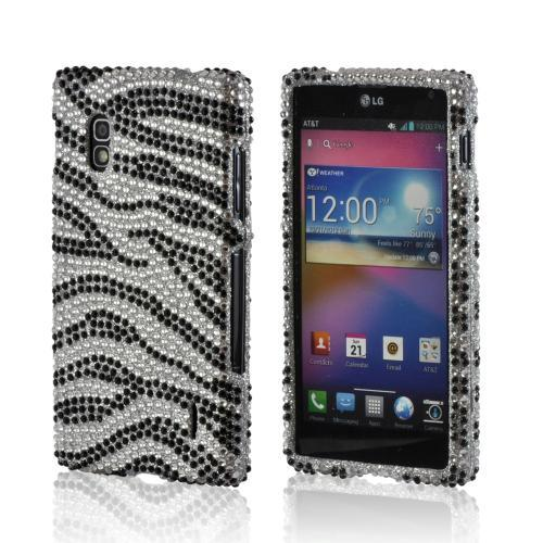 Silver/ Black Zebra Bling Hard Case for LG Optimus G (AT&T)