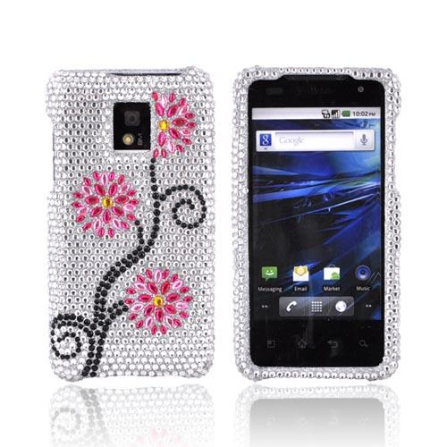 T-Mobile G2X Bling Hard Case w/ Crowbar - Hot Pink/ Baby Pink Flowers on Silver Gems