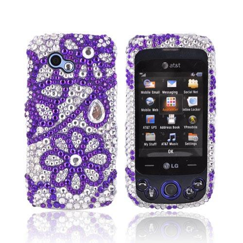LG Neon II GW370 Bling Hard Case - Purple Flower Lace on Silver