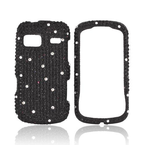 LG Rumor Reflex Bling Hard Case - White Gems on Black Gems