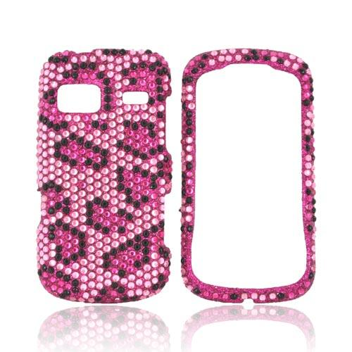 LG Rumor Reflex Bling Hard Case - Hot Pink/ Black Leopard