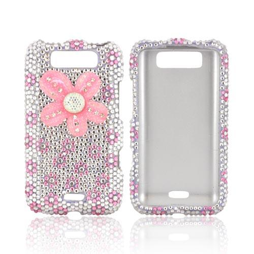 LG Viper 4G LTE/ LG Connect 4G Bling Hard Case - Pink Flowers on Silver/ Pink Gems